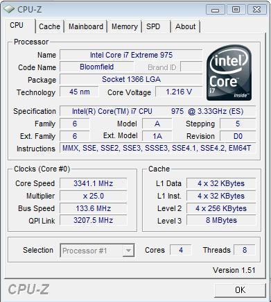 Cpu-Z v1.51 для Core i7 975 Extreme Edition